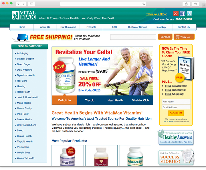 E-commerce vitamins website