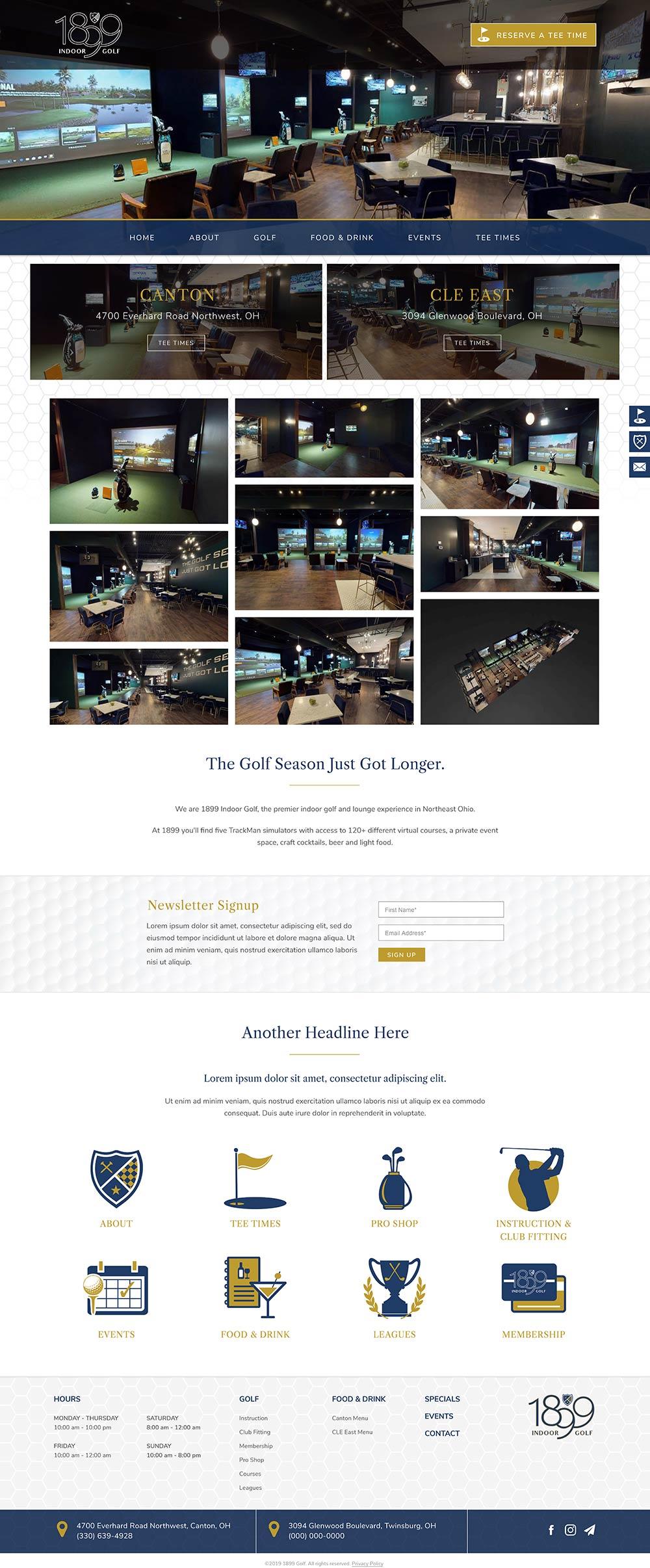 Indoor golf website design