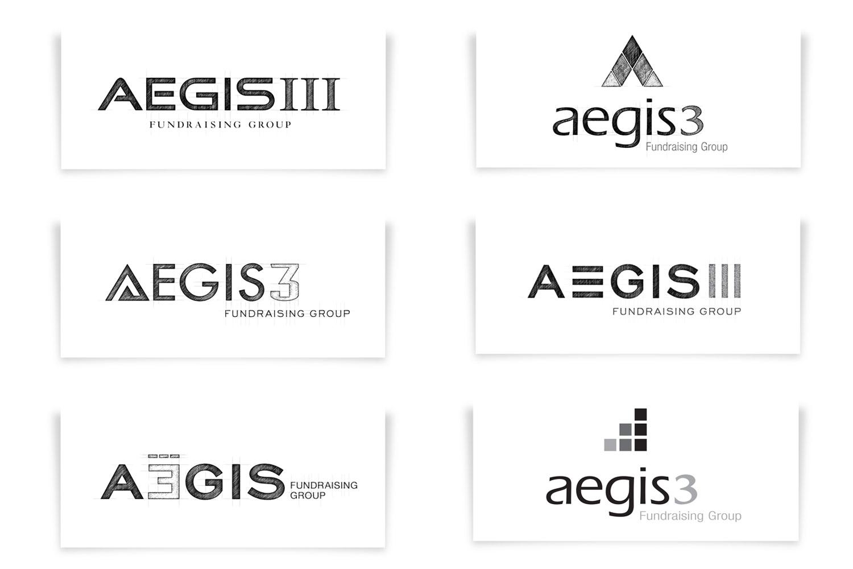 Aegis3 fundraising logo concepts