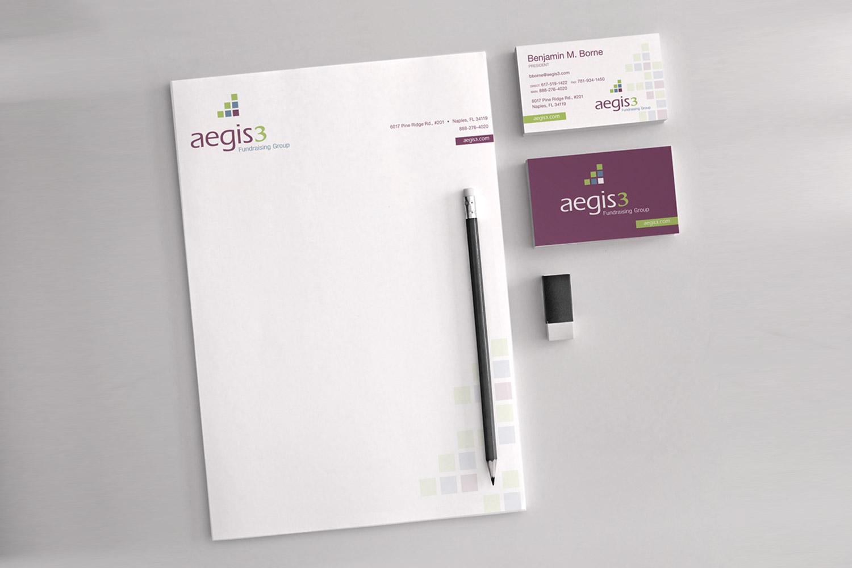 Aegis3 fundraising logo stationery