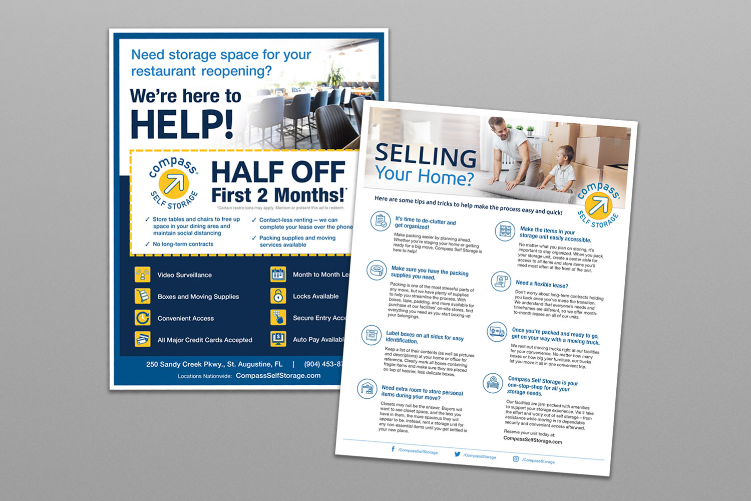 Compass Self Storage marketing materials