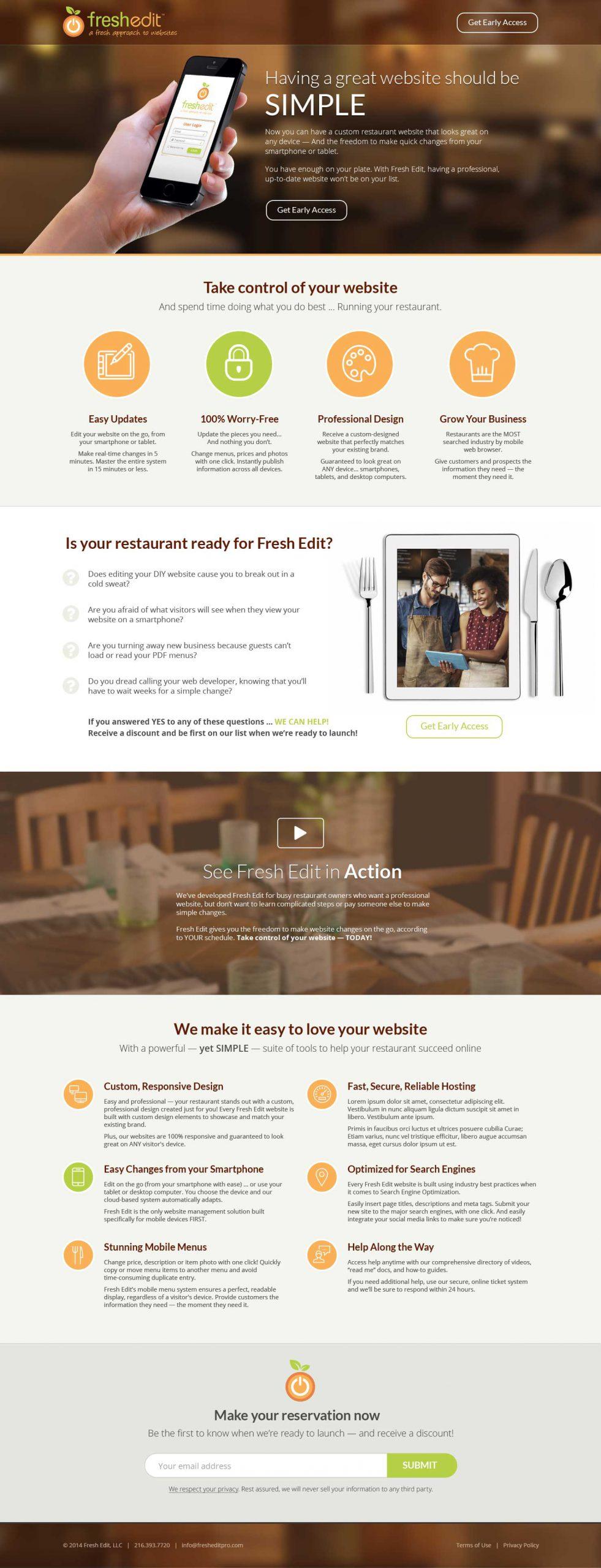 Fresh Edit landing page design