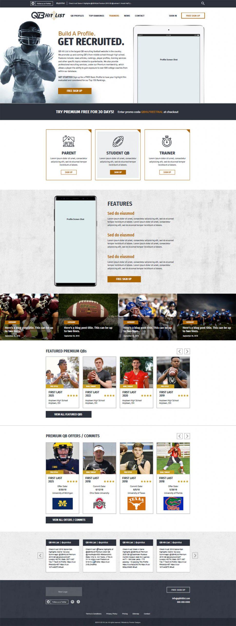 QB Hit List membership website design