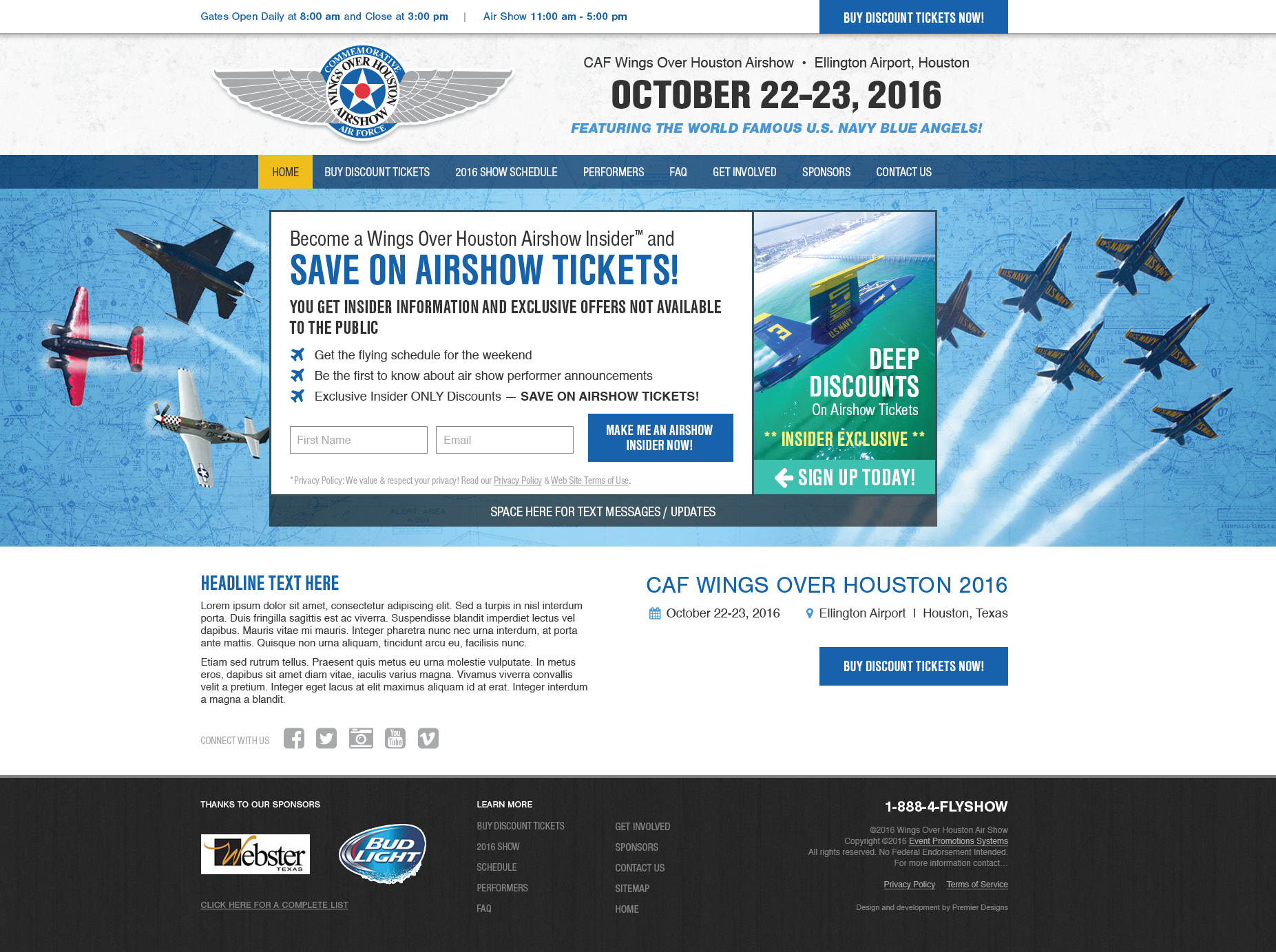 Wings Over Houston Airshow website design