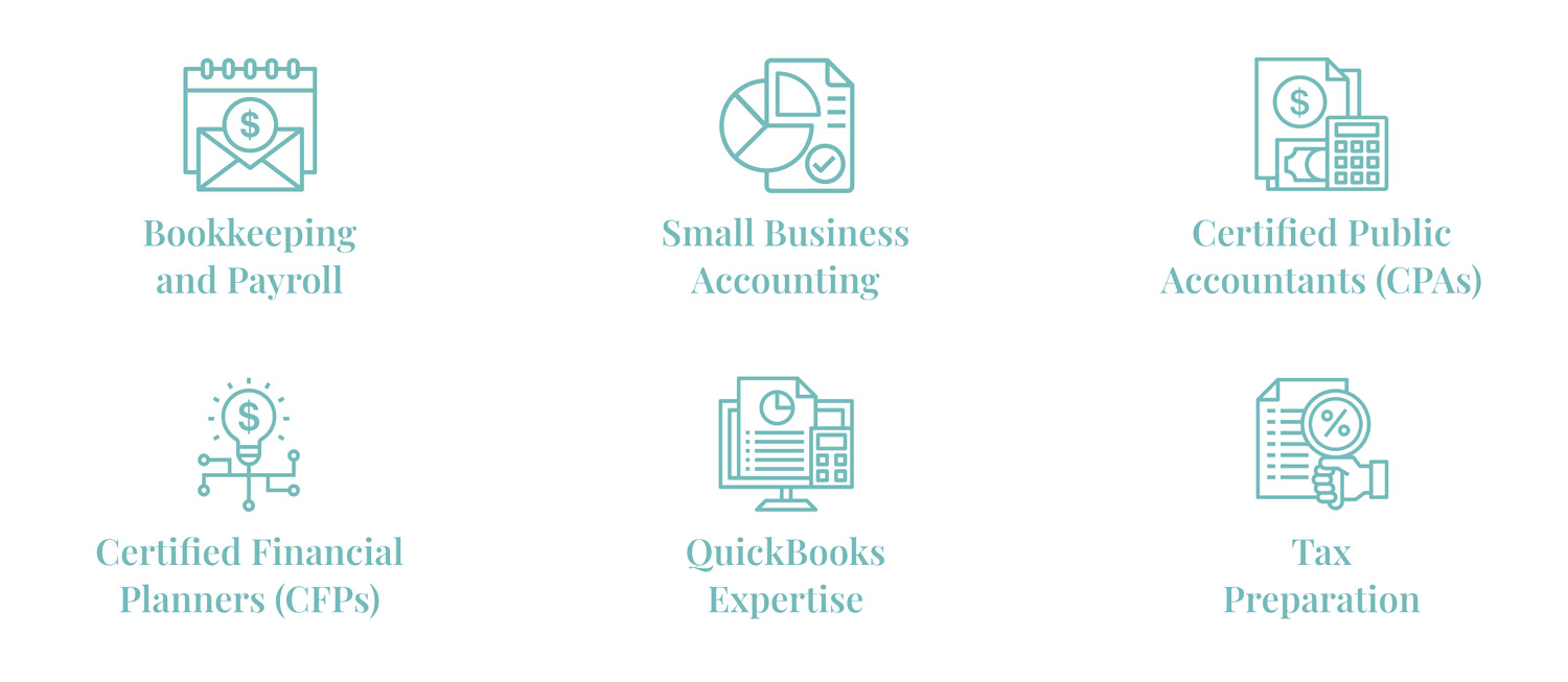 Accounting Firm Custom Icons Illustration